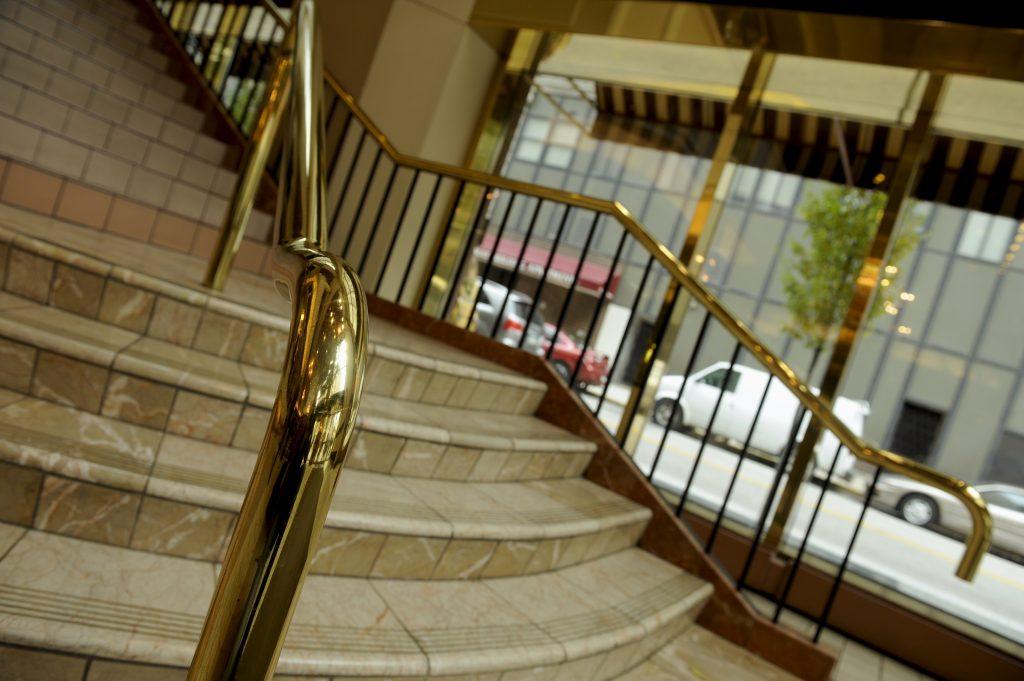 VA brass railing steps